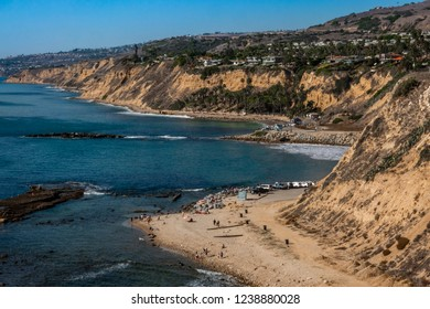 Aerial view of the Pacific Coast in San Pedro, California, at the White Point Royal Palms beach, popular for surfing, snorkeling, SCUBA diving, fishing, picnicking, hiking and dog walking.