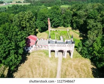 Aerial view of Pac's palace, Dowspuda, Poland