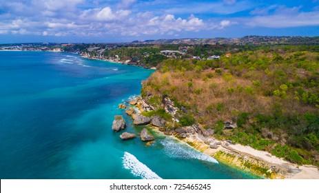 Aerial view of Padang - Padang beach. Bali, Indonesia.