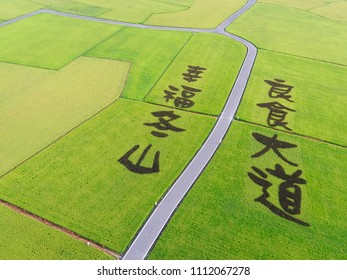 "Aerial View of Paddy Field from Dongshan Township, Yilan, Taiwan. Translation: ""Good food avenue, happiness Dongshan."""