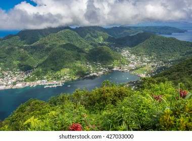 Aerial view of Pago Pago village and Harbor