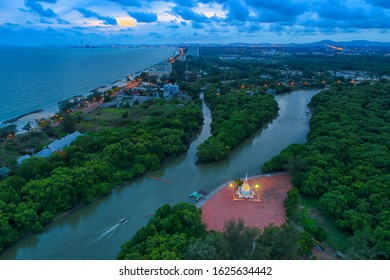 Aerial view of Pagoda on Mangrove forest in Rayong Province, Thailand