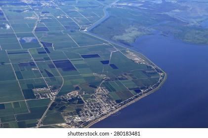 Aerial view of Pahokee, Florida and marina, on Lake Okeechobee