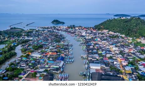 Aerial view Pak Nam Chumphon at evening, Chumphon Thailand.