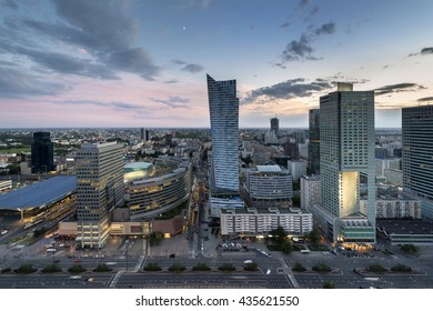 Aerial view from Palace of Culture and Science with Golden Terraces shopping centre and Warszawa Centralna railway station in Warsaw