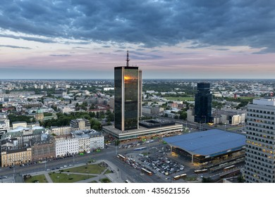 Aerial view from Palace of Culture and Science with on Warszawa Centralna railway station in Warsaw