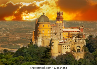 Aerial view of Palace da Pena. Sintra, Lisbon. Portugal. European travel