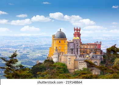 Aerial view of  Palace da Pena - Sintra, Lisboa,  Portugal - European travel,  Horizontal