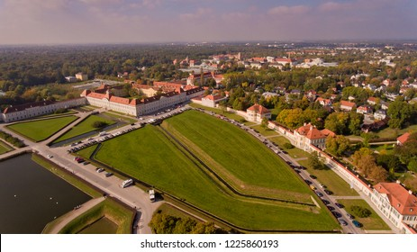 Aerial view of the palace and park ensemble Nymphenburg in Munich.