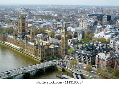 Aerial view of the Palace of Westminster and the Big Ben at the capital city of London in the United Kingdom.