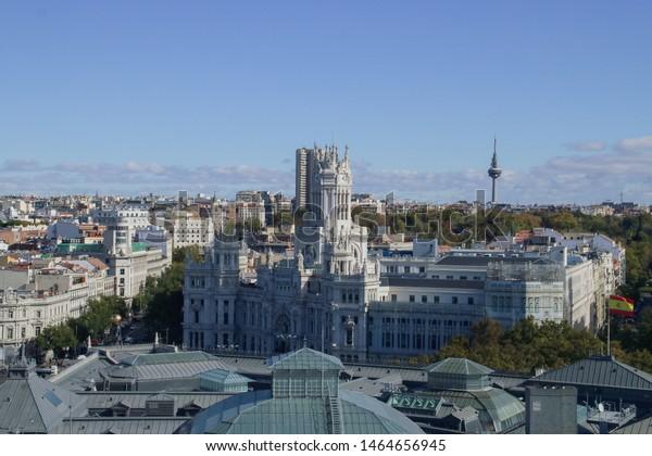 Aerial View Palacio Cibeles Called Telecommunications Stock