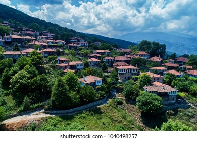 Aerial view of Palaios Panteleimonas is a mountain village, It is built at an altitude of 440 meters on the eastern slopes of Mount Olympus in northern Greece and attracts many visitors