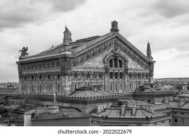 Aerial View Of Palais Garnier, Famous Opera House In Paris. Black and white photography. - Shutterstock ID 2022022679