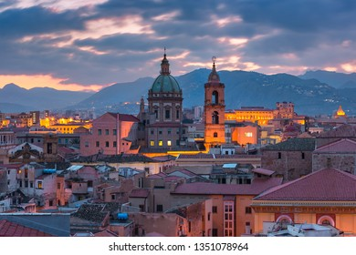 Aerial view of Palermo with Church of the Gesu at sunset, Sicily, Italy