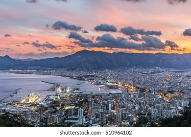 Aerial view of Palermo at sunset, Italy