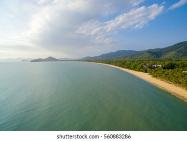 An aerial view of Palm Cove one of the northern beaches of Cairns in Tropical North Queensland, Australia