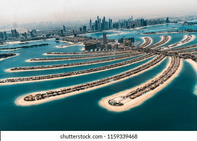 Aerial view of The Palm in Dubai.