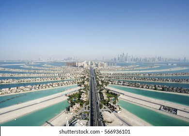 Aerial View of Palm Island in Dubai, United Arab Emirates
