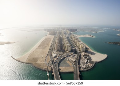 Aerial View of Palm Island in Dubai, United Arab Emirates