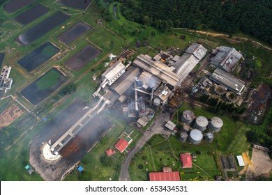 Aerial view of Palm Oil Mill in Pahang, Malaysia.