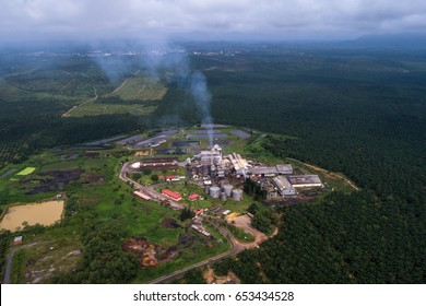 Aerial view of Palm Oil Processing Mill in Pahang, Malaysia