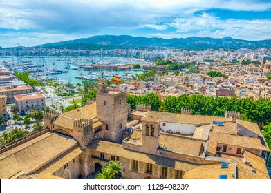 Aerial view of Palma de Mallorca with Almudaina palace, Spain