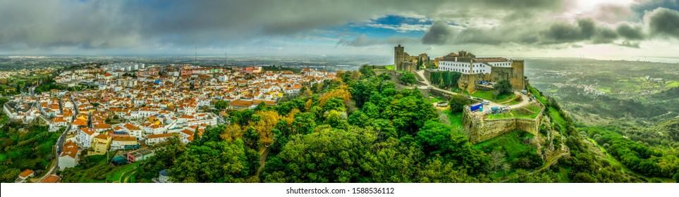 Aerial view of Palmela castle and pousada
