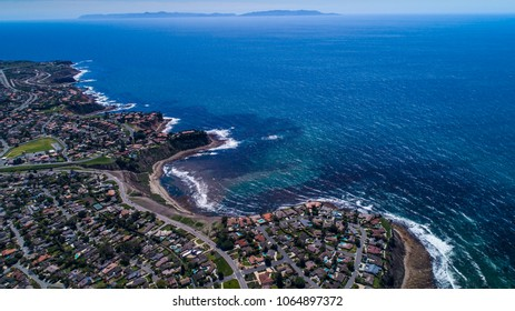Aerial view of Palos Verdes coast with Catalina Island in background