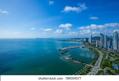 Aerial View from Panama City in Panama.View to Casco Viejo and entrance to the Panama Canal