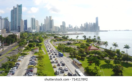 Aerial view of Panama City, Panama showing Balboa Avenue and the Cinta Costera Boulevard