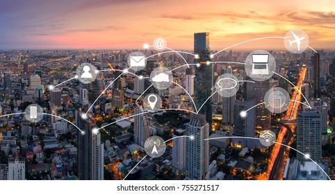 Aerial view panorama of Bangkok with network connection concept and technology icon