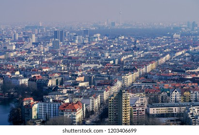 aerial view panorama of Berlin on a misty day