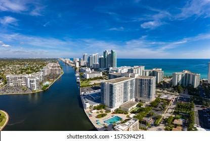 Aerial view panorama of Fort Lauderdale