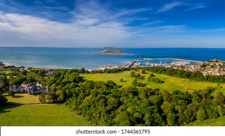 Aerial view Panorama of Howth Pier Ireland's Eyes and Lambay island from the Deer Park Golf club, Castle , Martello tower  Harbour fishing village and small trading port Howth, Dublin, Ireland