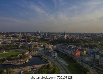Aerial view panorama old city Tallinn, Estonia.