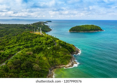 aerial view panorama Phromthep cape and wind tubine viewpoint. Phromthep cape is a famouse landmark and popular sunset viewpoint of Phuket Thailand.