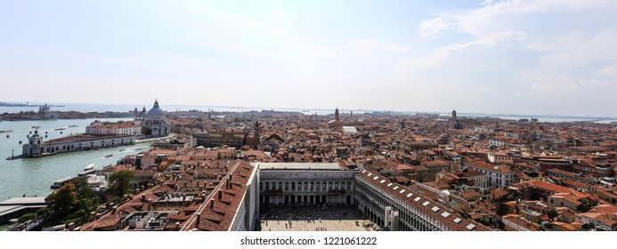 Aerial View / Panorama of Venice, Italy with multiple Sights and Landmarks