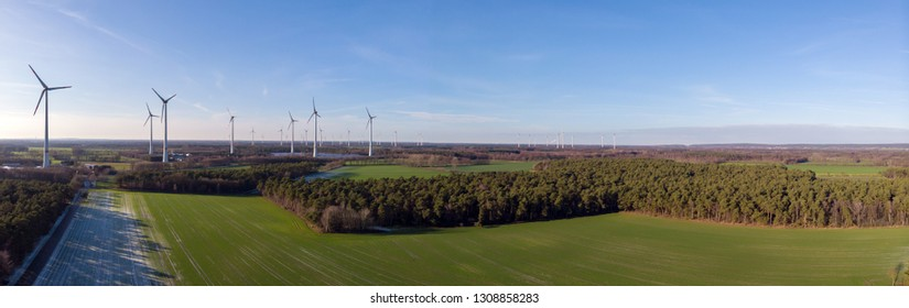 Aerial view panorama of the wind and solar park, in the Climate Community Saerbeck Germany