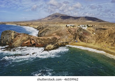 Aerial view of Papagayo beach on island of Lanzarote, Canary Islands, Spain.