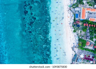 Aerial View of Paradise Beach of Indonesia with Tourquise Water and White Sandy Beach, Tanjung Bira South Sulawesi