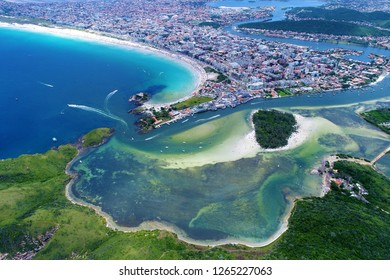 Aerial view of a paradise island. Fantastic landscape. Great beach view. Cabo Frio, Brazil