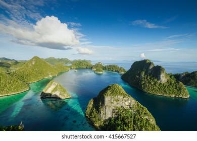 Aerial view of the paradise Raja Ampat, Indonesia