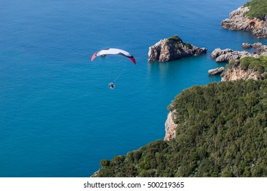aerial view of the paraglider over the coast line in Greece