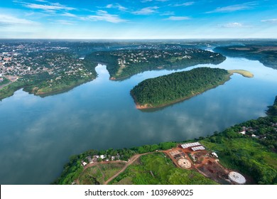 Aerial view of Parana River on the border of Paraguay and Brazil