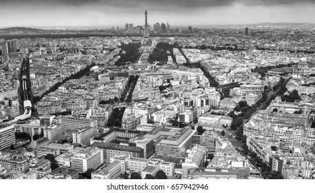 Aerial view of Paris cityscape.