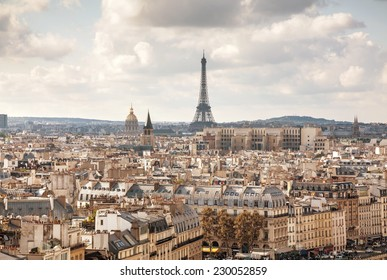Aerial view of Paris with the Eiffel tower
