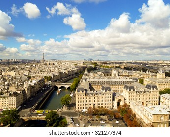 Aerial view Paris, France. Sunny autumn day.