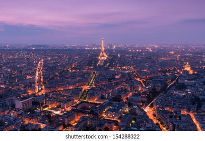 Aerial View of Paris, France from Tour Montparnasse at Dusk
