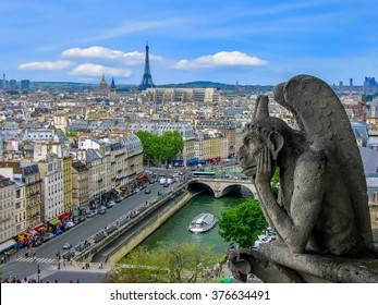 Aerial View of Paris - The Gargoyles of Notre Dame - Paris, France