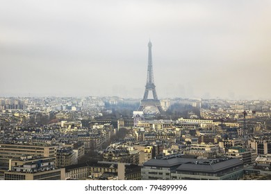 Aerial view of Paris on a foggy day. France.
